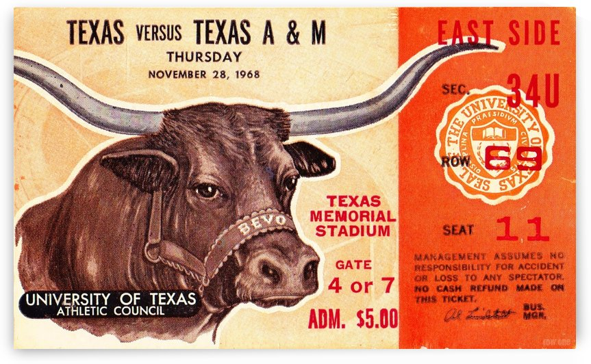 1968 Texas A&M vs. Texas Longhorns by Row One Brand