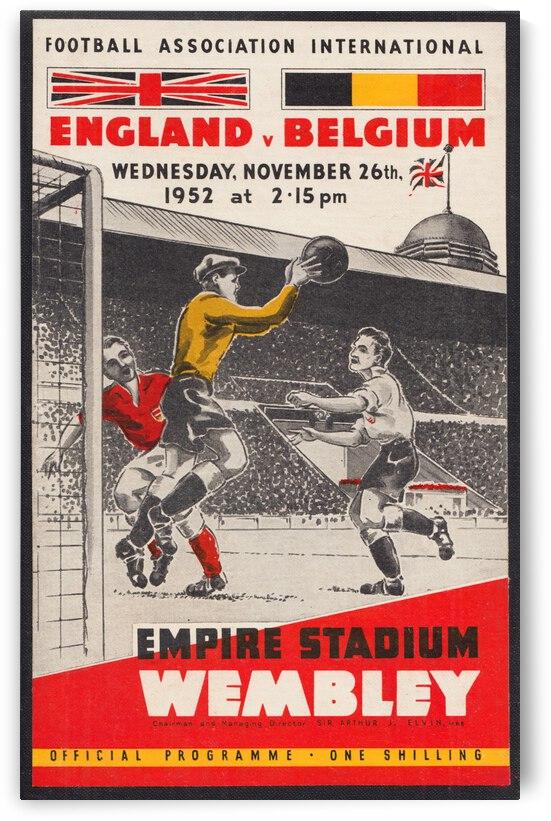 1952 England vs. Belgium Association Football Art | Row 1 by Row One Brand