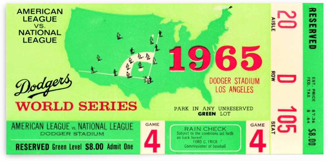 1965 World Series Ticket Stub Game 4 by Row One Brand
