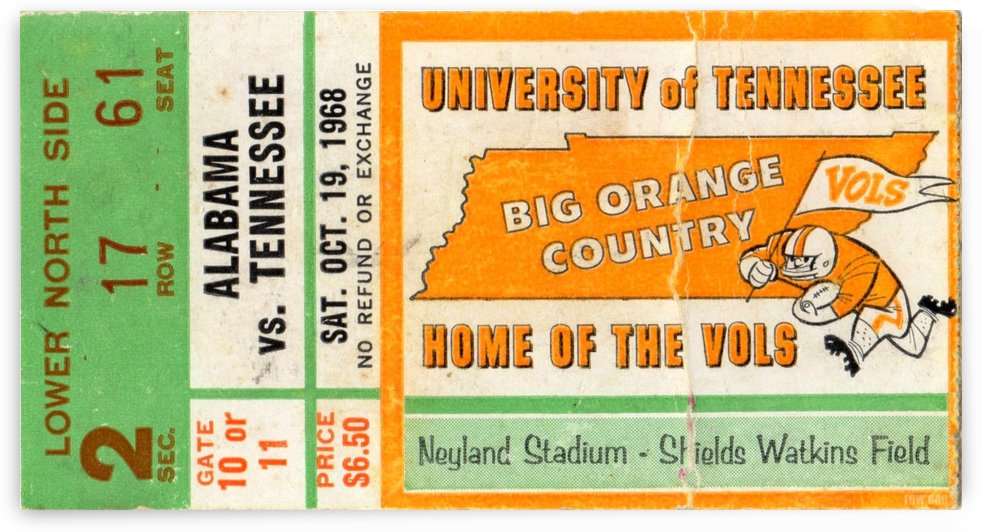 1968 Tennessee Vols Football Ticket Stub by Row One Brand