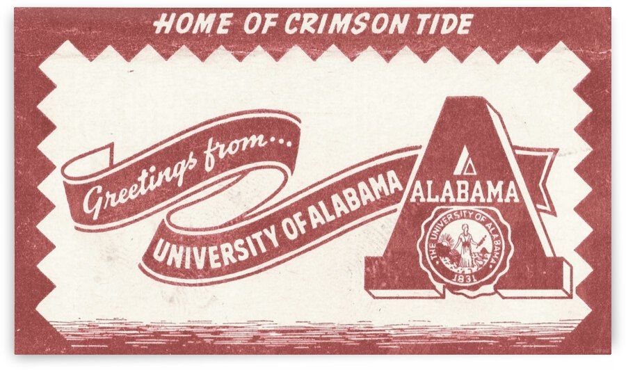 Vintage University of Alabama Art by Row One Brand