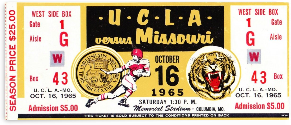 1965 UCLA vs. Missouri Football Ticket Stub Art by Row One Brand