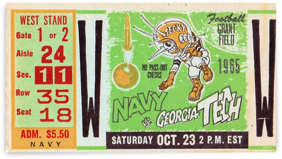1965 Navy vs. Georgia Tech Ticket Stub Canvas by Row One Brand