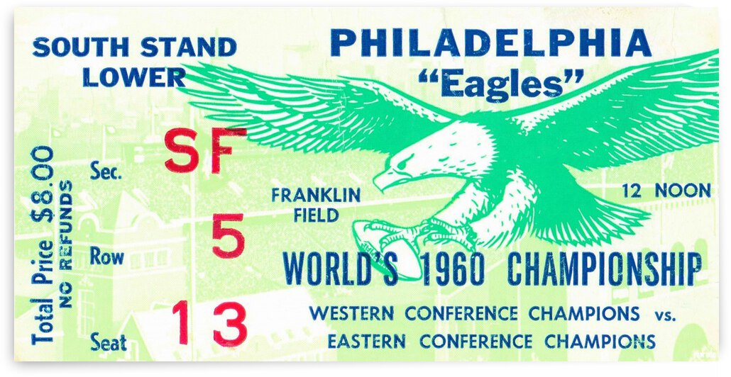 1960 Philadelphia Eagles Football Ticket by Row One Brand