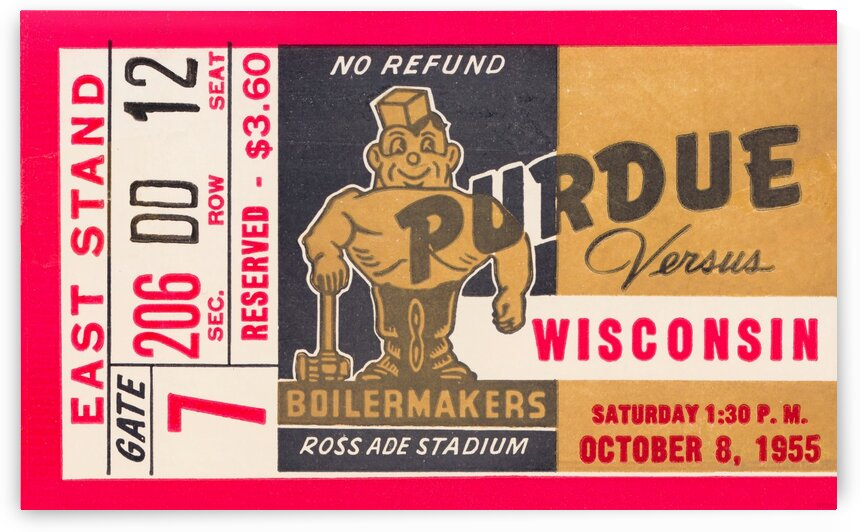 1955 Wisconsin vs. Purdue Football Ticket Canvas by Row One Brand