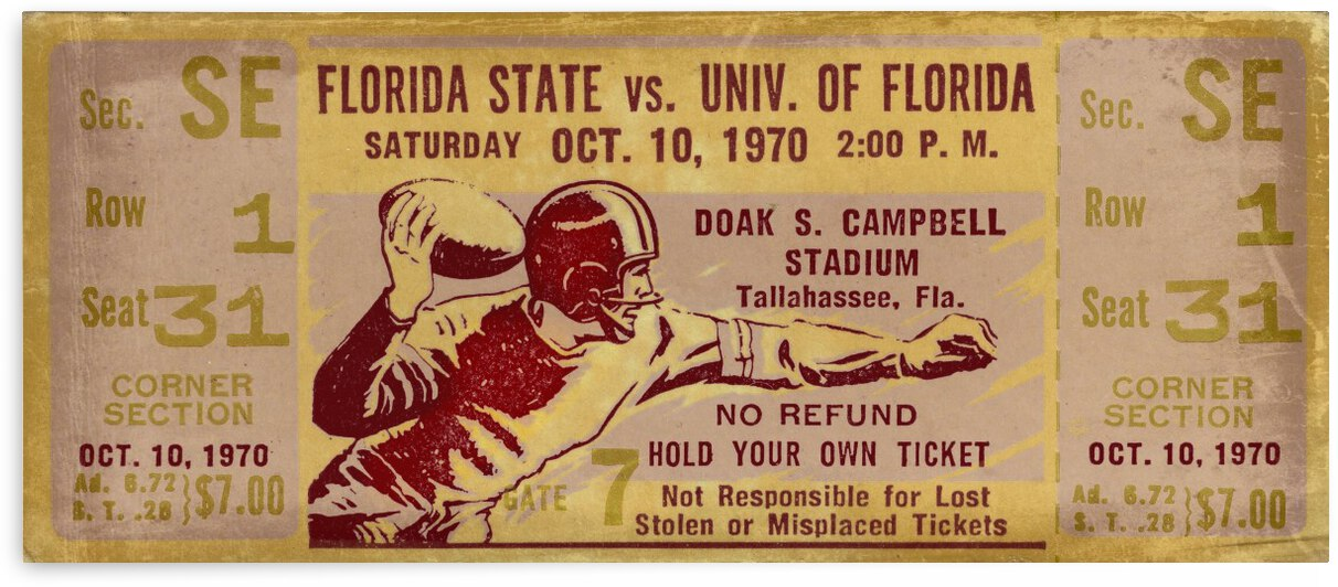 1970_College_Football_Florida State vs. Florida_Doak Campbell Stadium_Tallahassee_Row One by Row One Brand