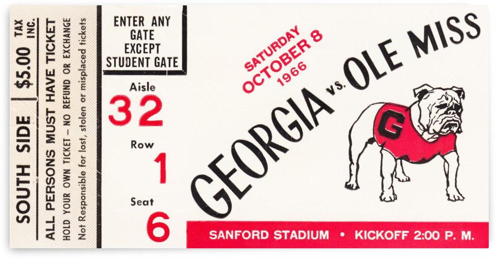 1966 Ole Miss vs. Georgia Football Ticket Canvas by Row One Brand