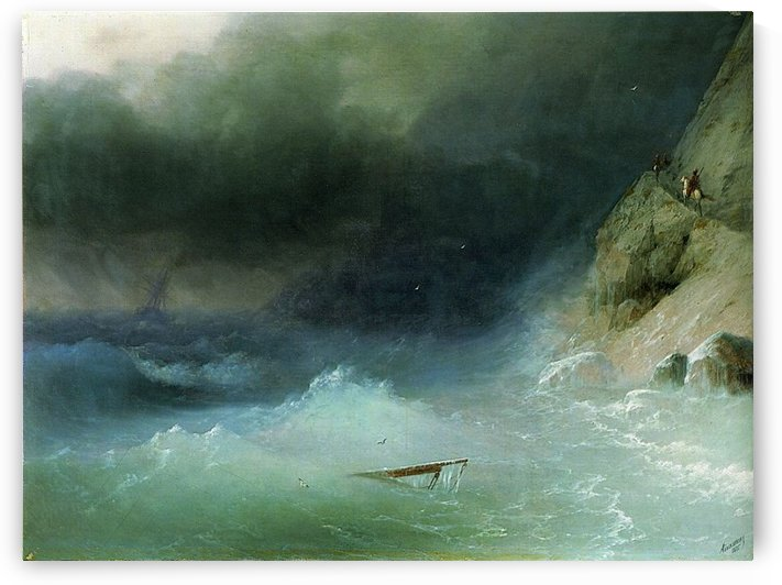 The Tempest near rocks by Ivan Aivazovsky