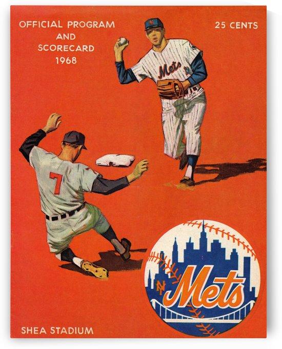 1968 New York Mets Baseball Scorecard Art by Row One Brand