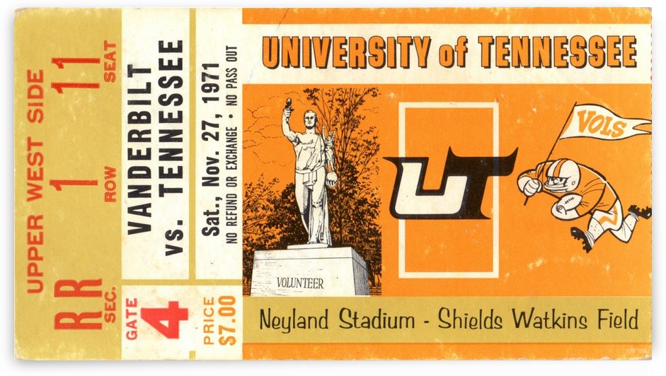 1971 Vanderbilt vs. Tennessee by Row One Brand