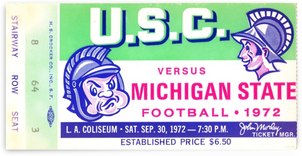 1972_College_Football_Michigan State vs. USC_Los Angeles Coliseum_Row One by Row One Brand