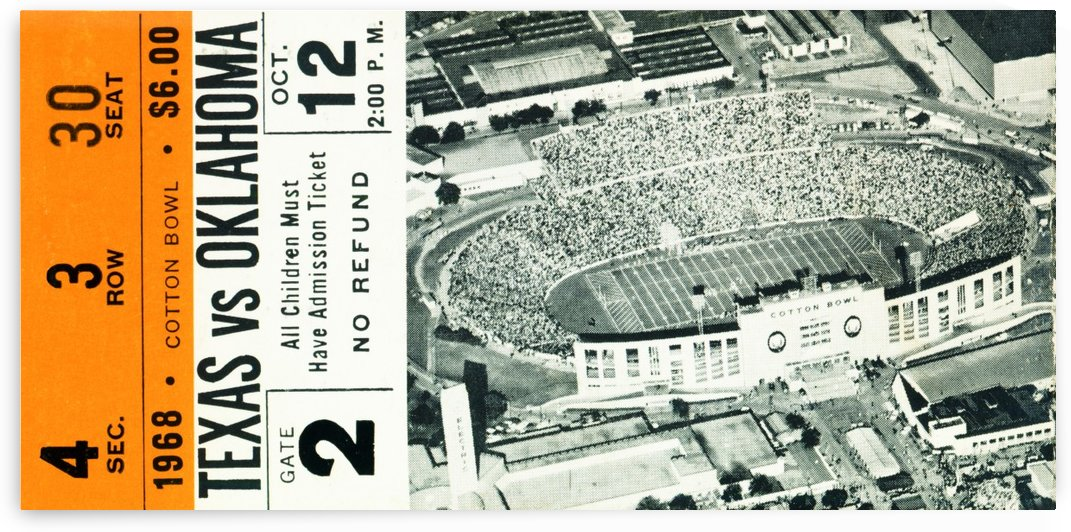 1968 Texas Longhorns vs. Oklahoma Sooners Football Ticket Stub by Row One Brand