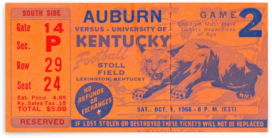 1966_College_Football_Kentucky vs. Auburn_Stoll Field_Lexington_Row One by Row One Brand