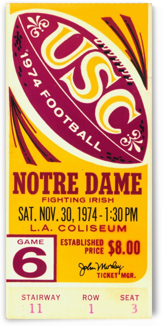 1974_College_Football_USC vs. Notre Dame_Los Angeles Coliseum_The Comeback_Row One Brand Ticket Art by Row One Brand