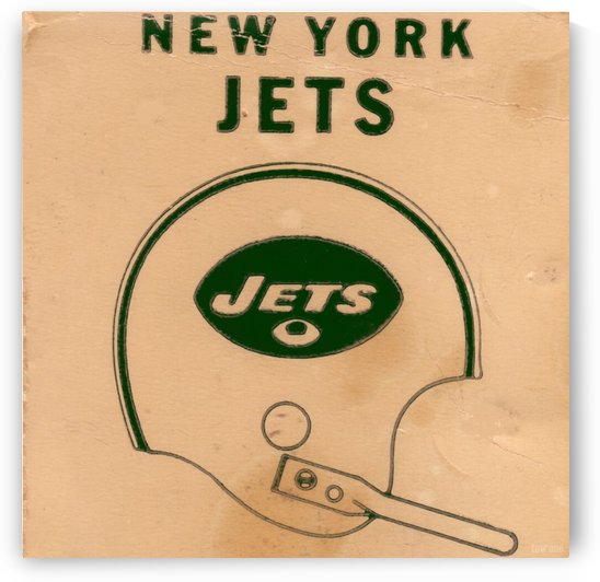 1971 New York Jets Vintage Helmet Art by Row One Brand