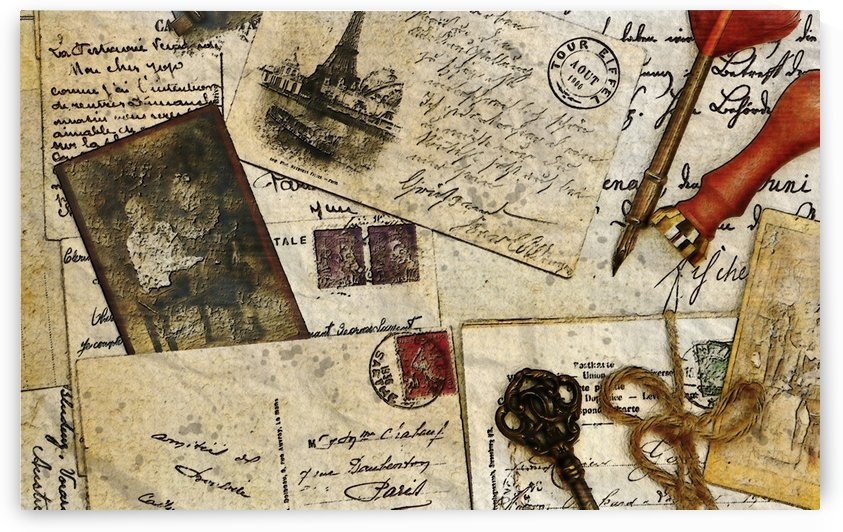 vintage post card letter pen ink by Shamudy
