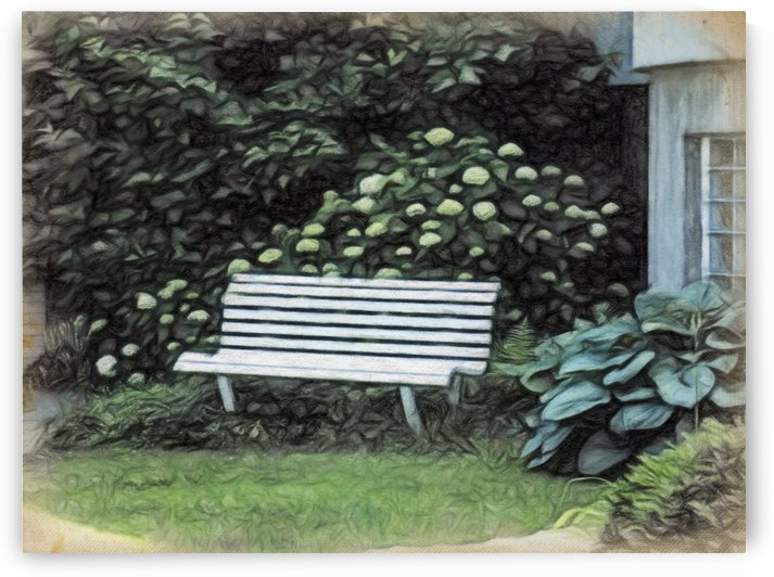A Seat Among The Hostas and Hydrangeas by Leslie Montgomery