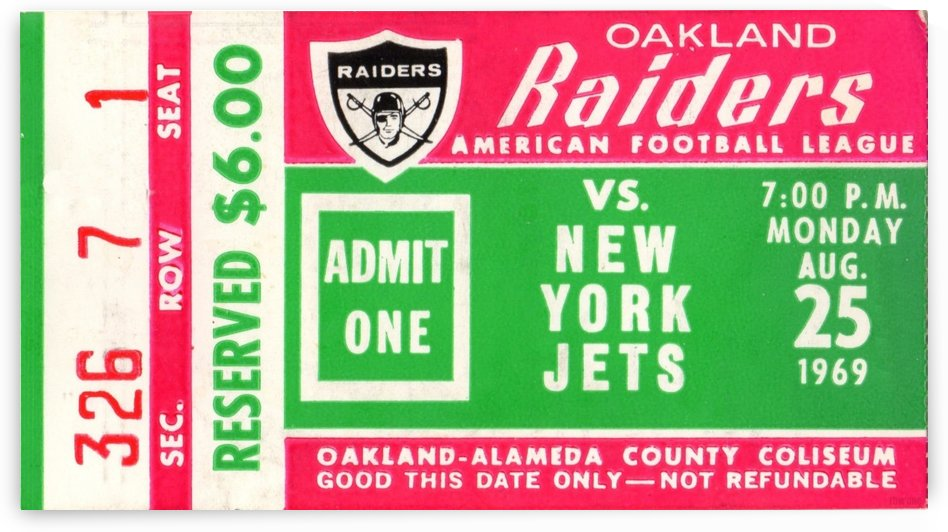 1969 New York Jets vs. Oakland Raiders Ticket Stub  by Row One Brand