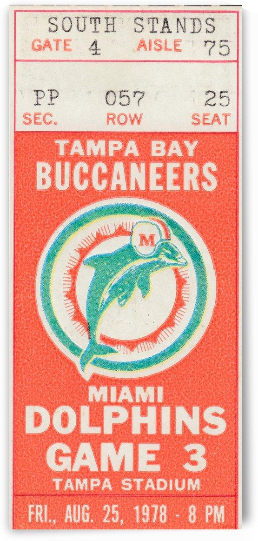 1978 Miami Dolphins Football Ticket Stub Art by Row One Brand