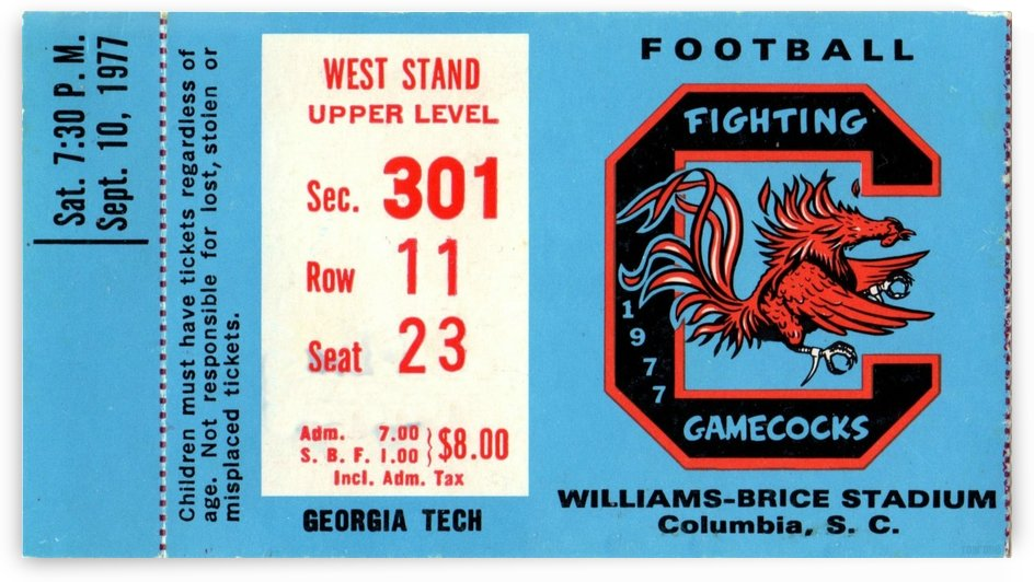 1977_College_Football_Georgia Tech vs. South Carolina_Williams Brice Stadium_Row One Brand by Row One Brand