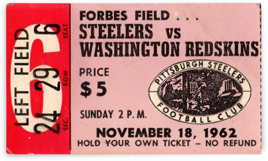 1962_National Football League_Pittsburgh Steelers vs. Washington Redskins_Forbes Field_Row One by Row One Brand