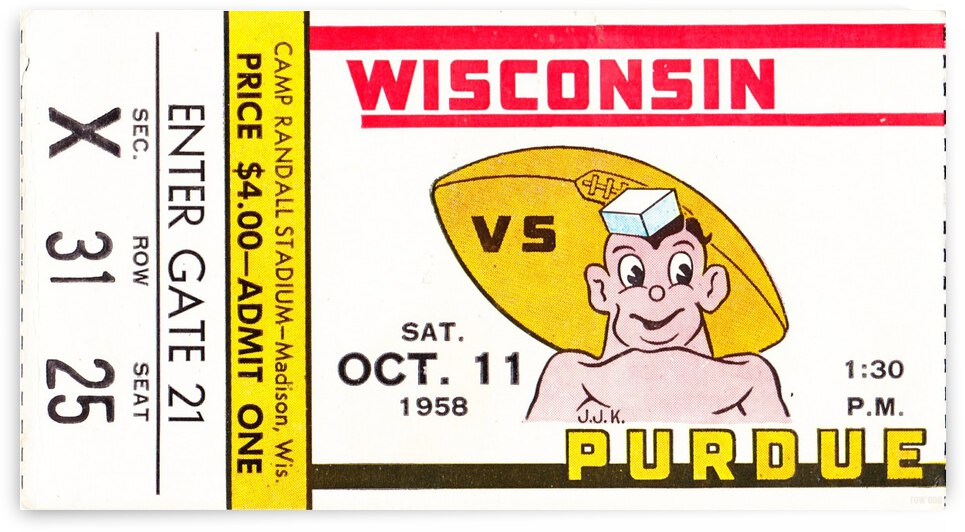 1958 Wisconsin Badgers vs. Purdue Boilermakers by Row One Brand