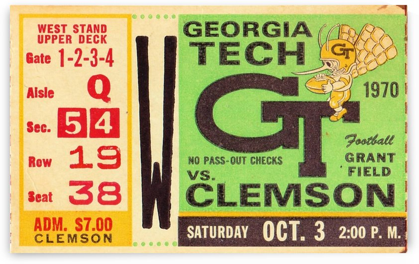 1970_College_Football_Clemson vs. Georgia Tech_Grant Field_Row One Brand by Row One Brand