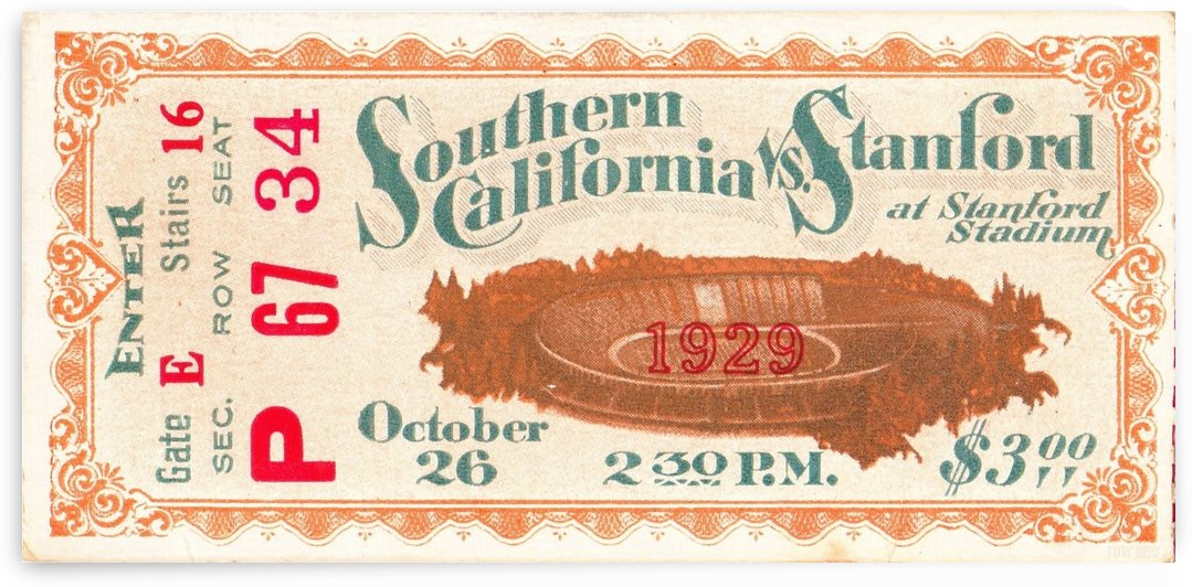 1929_College_Football_USC vs. Stanford_Stanford Stadium_Row One Brand by Row One Brand
