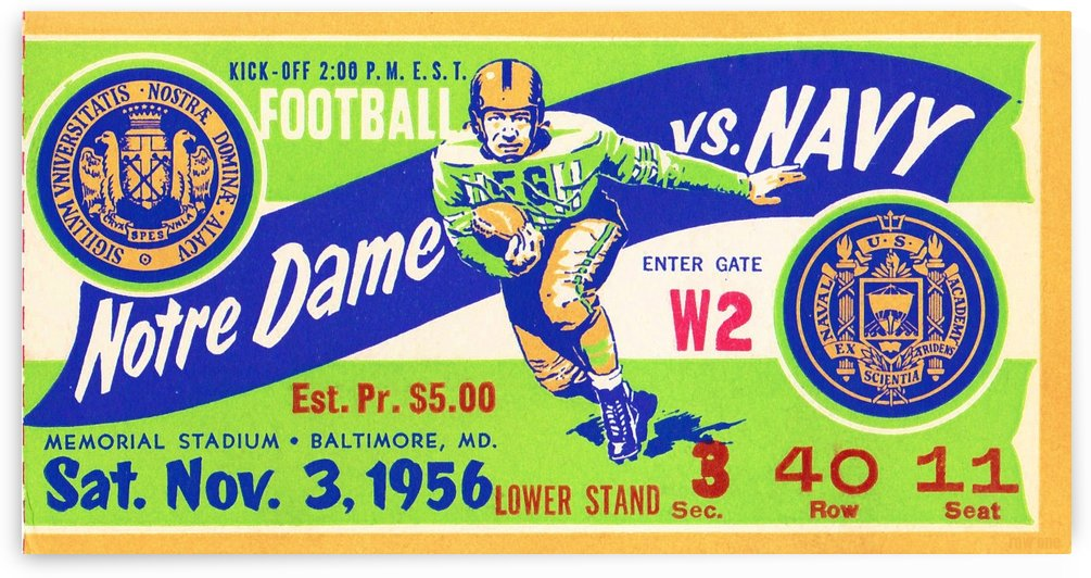 1956_College_Football_Notre Dame vs. Navy_Memorial Stadium_Baltimore_Row One Brand by Row One Brand
