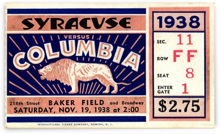 1938_College_Football_Syracuse vs. Columbia_Baker Field_New York City_Row One Brand by Row One Brand