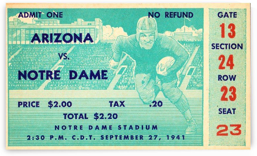 1941_College_Football_Arizona vs. Notre Dame_Notre Dame Stadium_South Bend_Row One Brand by Row One Brand