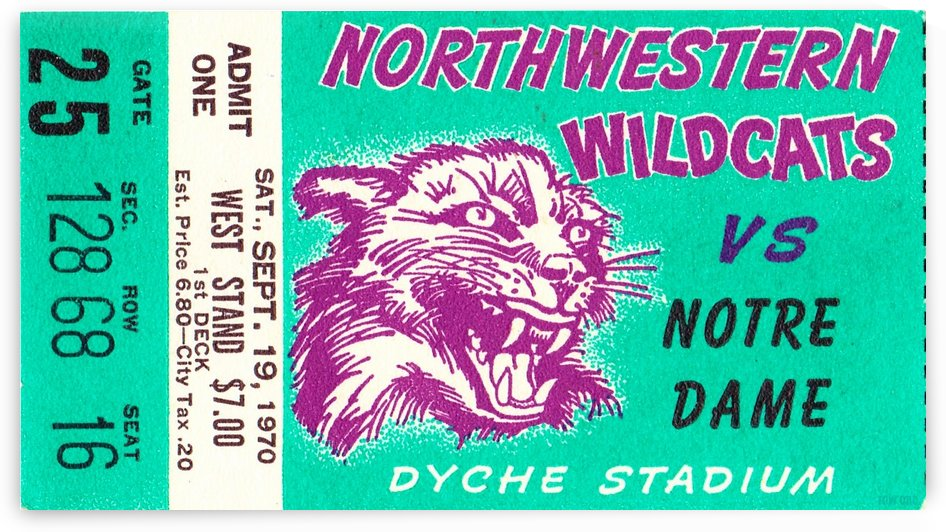 1970_College_Football_Notre Dame vs. Northwestern_Dyche Stadium_Evanston_Row One Brand by Row One Brand
