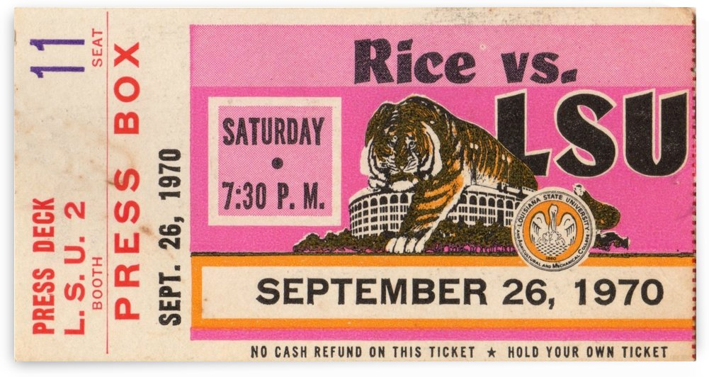 1970_College_Football_Rice vs. LSU_Baton Rouge_Row One Brand by Row One Brand
