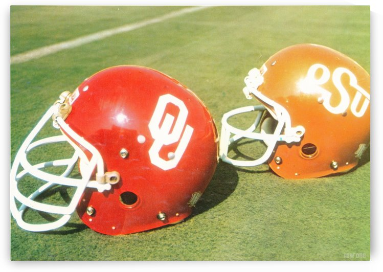 1978 Oklahoma Sooners OSU Cowboys Football Helmet Art Row One Brand by Row One Brand