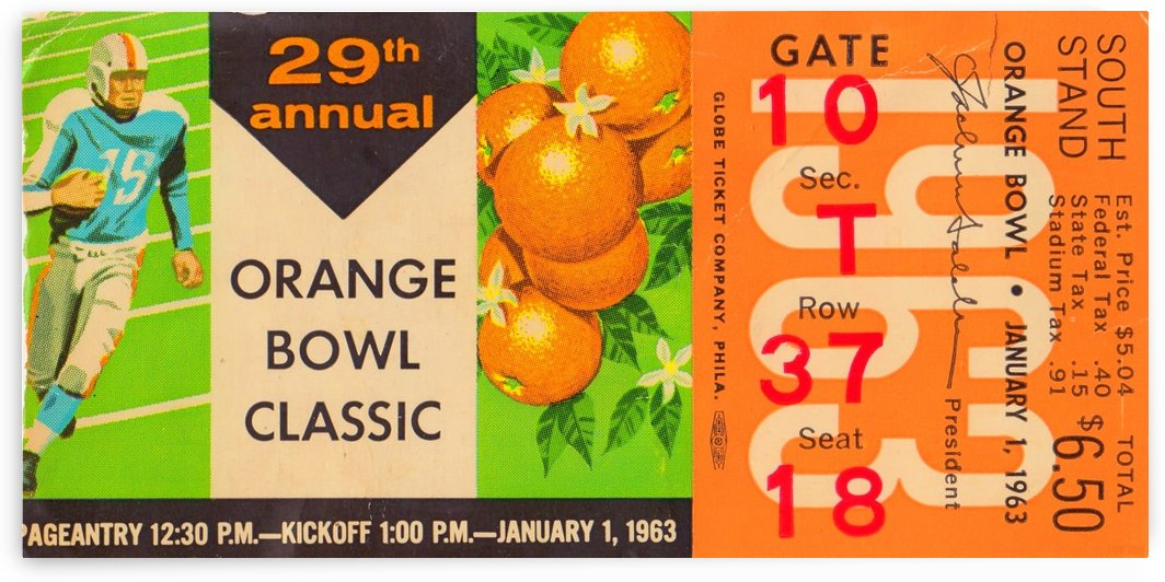 1963 Orange Bowl Alabama Win by Row One Brand