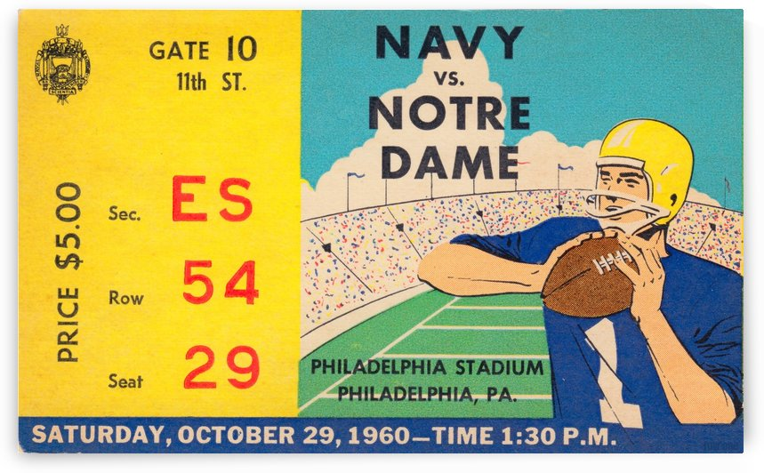 1960_College_Football_Notre Dame vs. Navy_Municipal Stadium_Row One Brand Football Art by Row One Brand