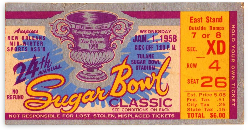 1958_College_Football_Sugar Bowl_Ole Miss vs. Texas_New Orleans_Row One Brand by Row One Brand