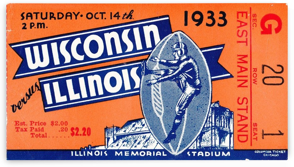 1933 Wisconsin vs. Illinois by Row One Brand