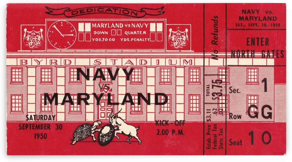 1950_College_Football_Navy vs. Maryland_Byrd Stadium_Stadium Dedication Game_Row One Brand Ticket by Row One Brand