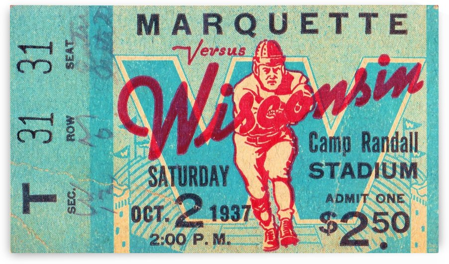 1937_College_Football_Marquette vs. Wisconsin_Camp Randall Stadium_Madison_Row One Tickets Row 1 by Row One Brand