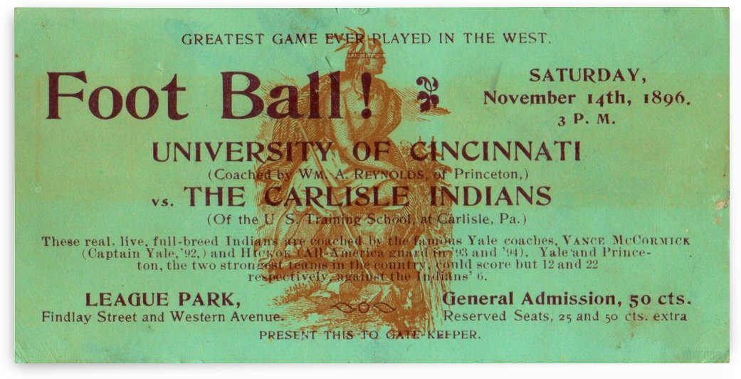 1896 Carlisle vs. Cincinnati by Row One Brand