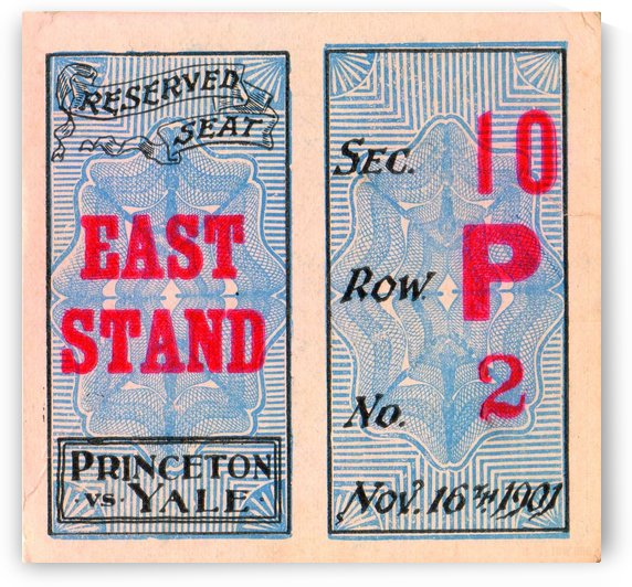 1901_College_Football_Princeton vs. Yale_Yale Field_Yale National Champions_Row One Ticket Stub by Row One Brand