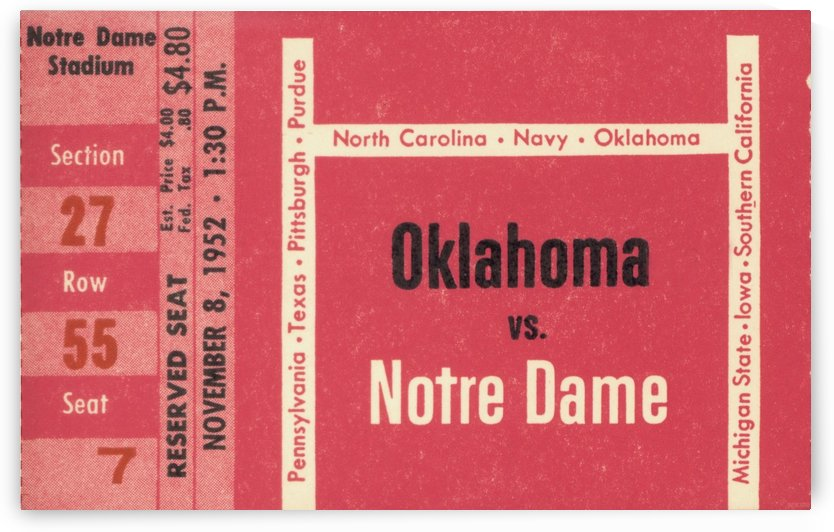 1952_College_Football_Oklahoma vs. Notre Dame_Notre Dame Stadium_South Bend_Row One Ticket Stub by Row One Brand