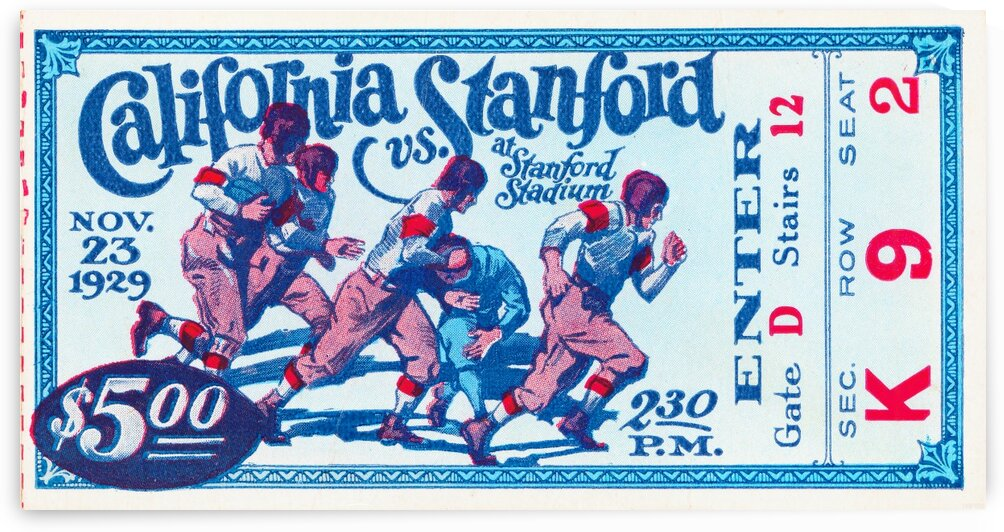 1929_College_Football_California vs. Stanford_Stanford Stadium_Palo Alto_Row One Brand Ticket Stub by Row One Brand