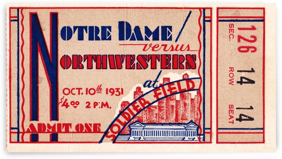 1931_College_Football_Notre Dame vs. Northwestern_Soldier Field_Chicago_Row One Ticket Stub by Row One Brand