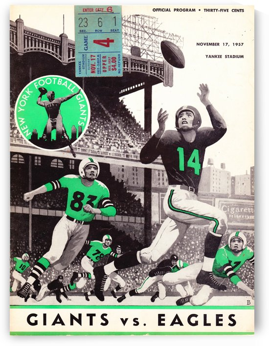 1957_National Football League_New York Giants vs. Philadelphia Eagles_Yankee Stadium_Row One Art by Row One Brand