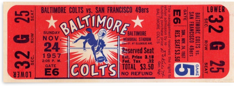 1957_National Football League_Baltimore Colts vs. San Francisco 49ers_Baltimore Memorial Stadium_Art by Row One Brand
