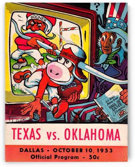 1953_College_Football_Texas vs. Oklahoma_Cotton Bowl_Program_Row One Brand Vintage Art by Row One Brand