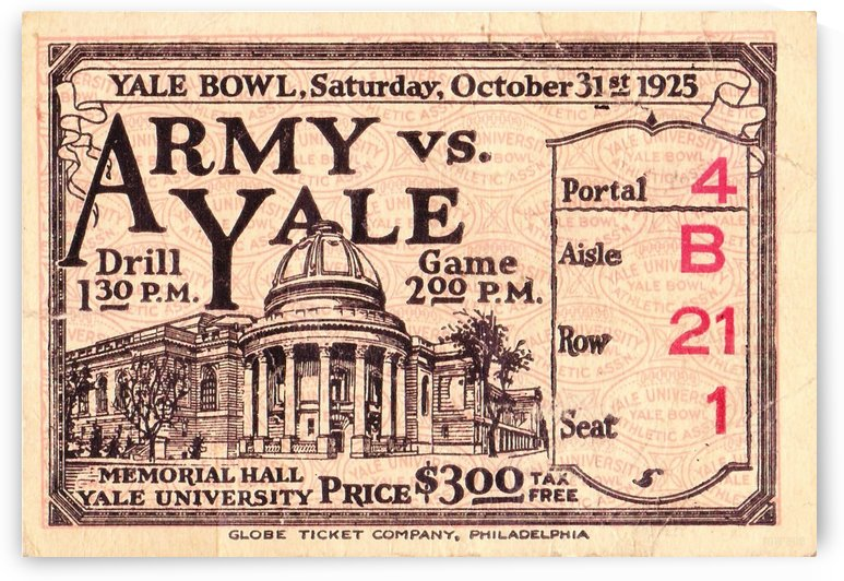 1925_College_Football_Army vs. Yale_Yale Bowl_New Haven_Connecticut_Row One Brand Ticket Stub by Row One Brand