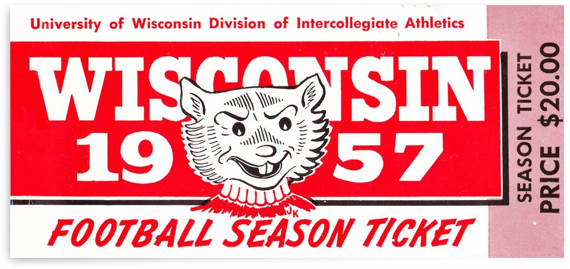 1957_College_Football_Wisconsin Badgers_Madison_Season Ticket Row One Brand Art by Row One Brand